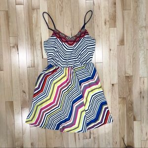 Vibrant Aztec and striped mini dress
